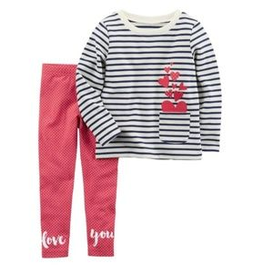 Carter's hearts outfit 2T, 3T, 5T, 6X, 7, 8